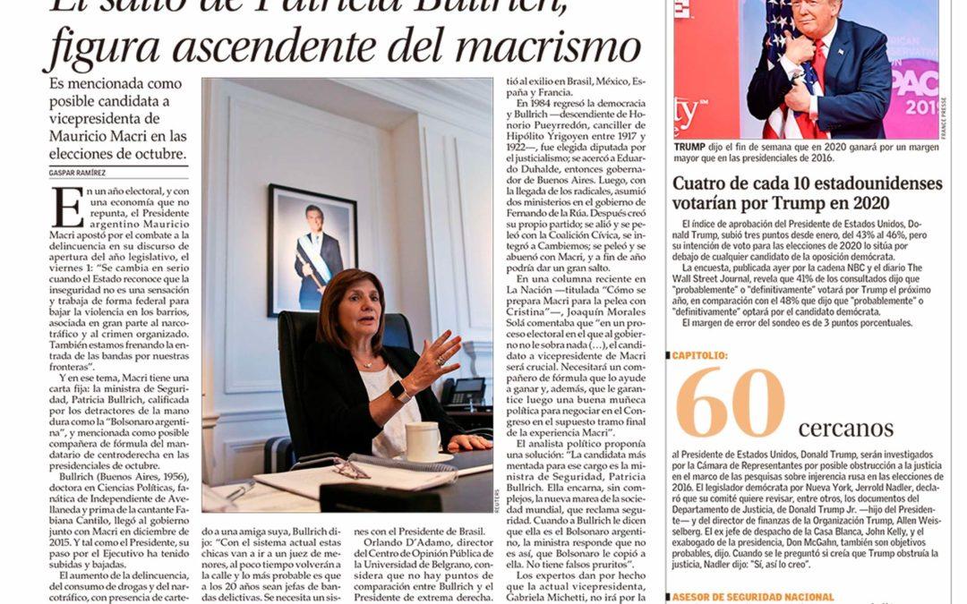 Nuestra opinón en El Mercurio sobre el perfil político de Patricia Bullrich