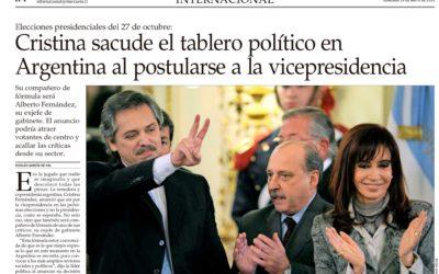 El anuncio de Cristina Fernández, nuestra opinión en «El Mercurio» de Chile.