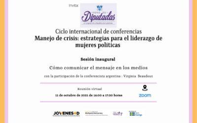 Preparación de mensajes para los medios, con diputadas de Guatemala y LATAM